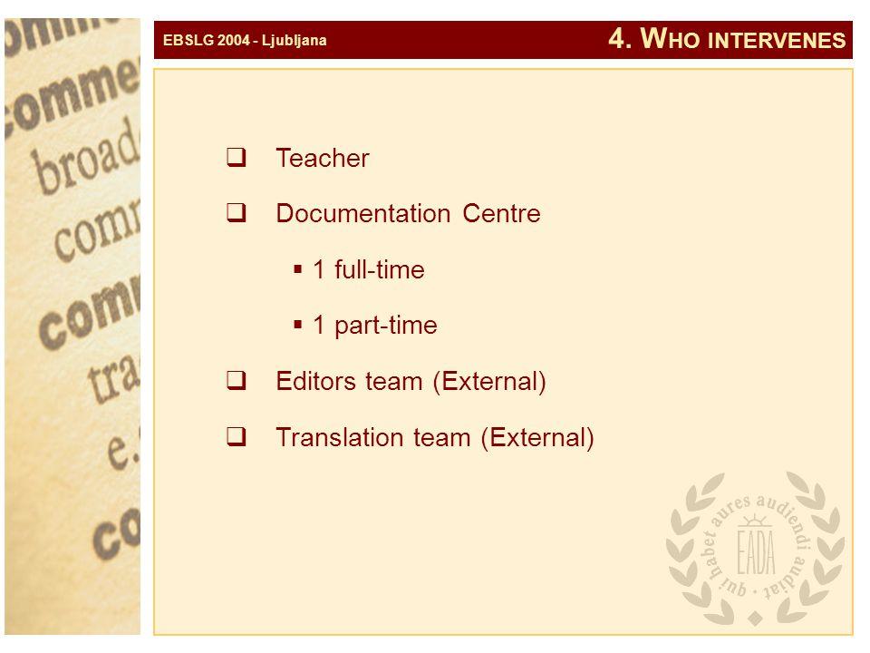 EBSLG 2004 - Ljubljana 4. W HO INTERVENES  Teacher  Documentation Centre  1 full-time  1 part-time  Editors team (External)  Translation team (E