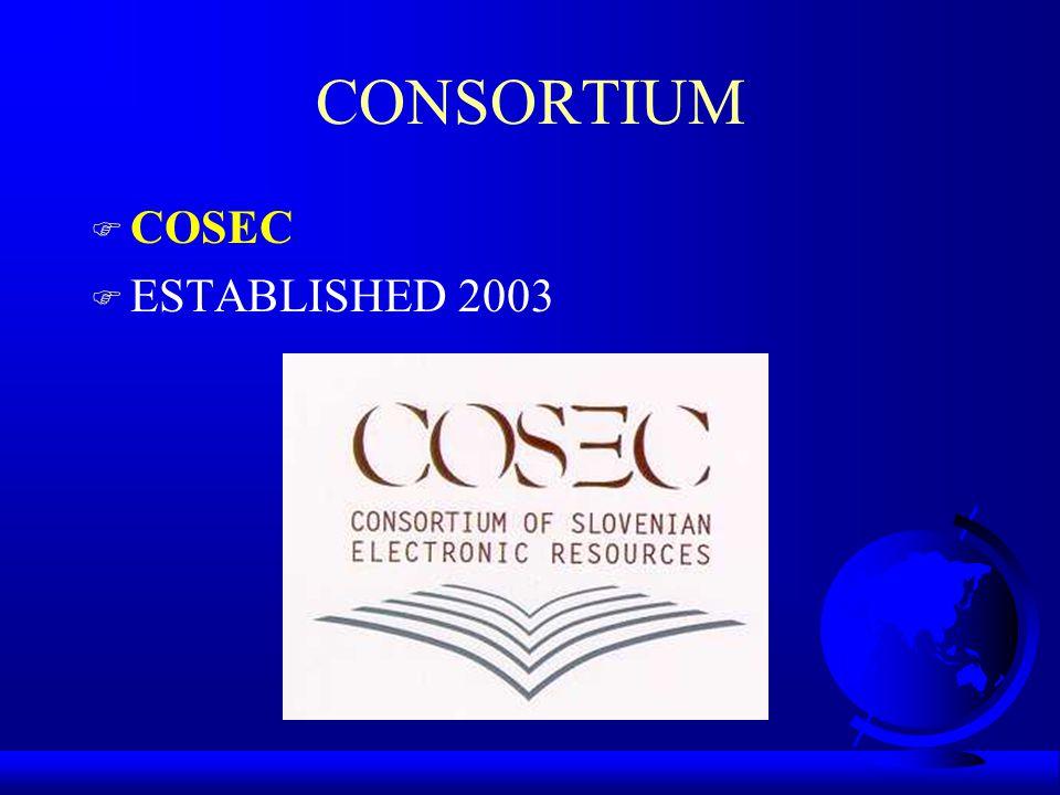 CONSORTIUM F COSEC F ESTABLISHED 2003