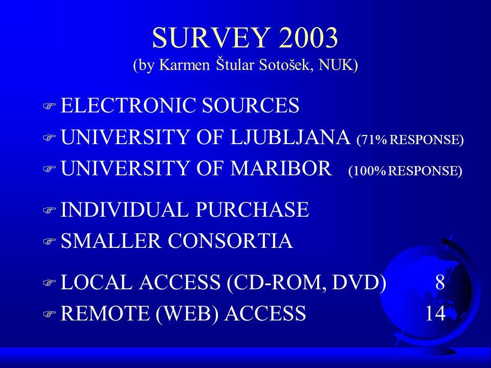 SURVEY 2003 (by Karmen Štular Sotošek, NUK) F ELECTRONIC SOURCES F UNIVERSITY OF LJUBLJANA (71% RESPONSE) F UNIVERSITY OF MARIBOR (100% RESPONSE) F INDIVIDUAL PURCHASE F SMALLER CONSORTIA F LOCAL ACCESS (CD-ROM, DVD)8 F REMOTE (WEB) ACCESS 14