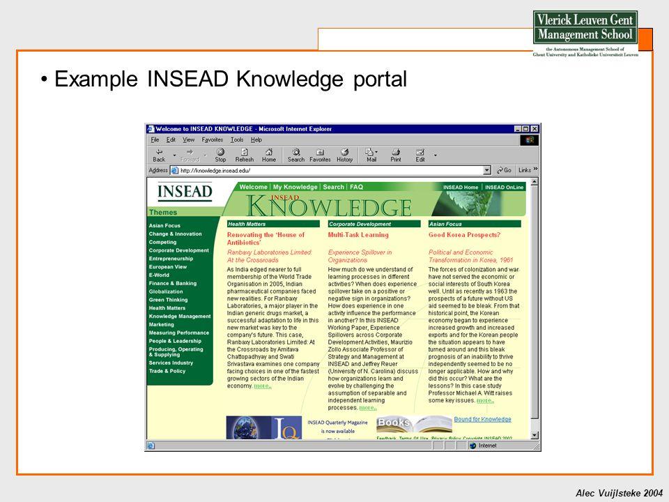 Alec Vuijlsteke 2004 Example INSEAD Knowledge portal