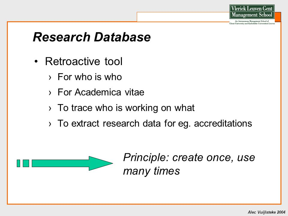 Alec Vuijlsteke 2004 Principle: create once, use many times Research Database Retroactive tool ›For who is who ›For Academica vitae ›To trace who is working on what ›To extract research data for eg.