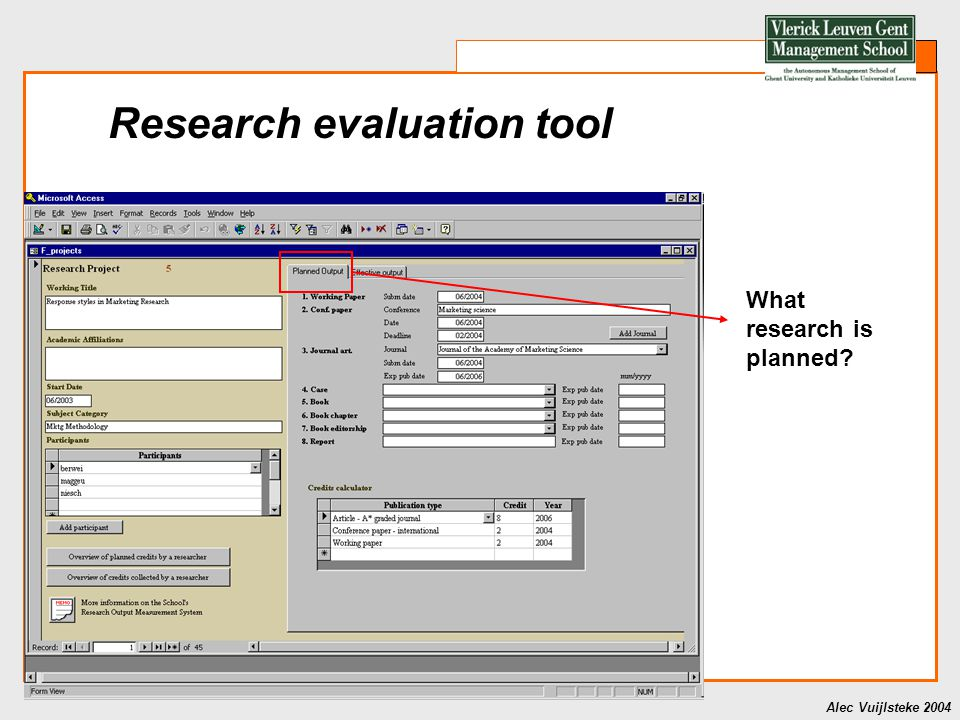 Alec Vuijlsteke 2004 Research evaluation tool What research is planned