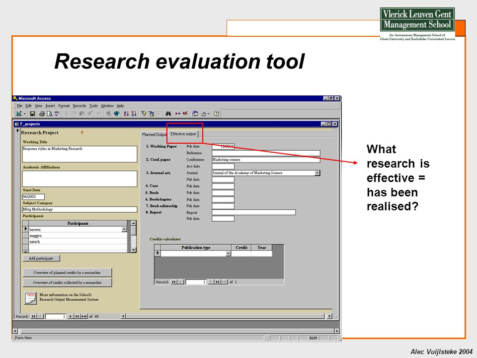Alec Vuijlsteke 2004 Research evaluation tool What research is effective = has been realised