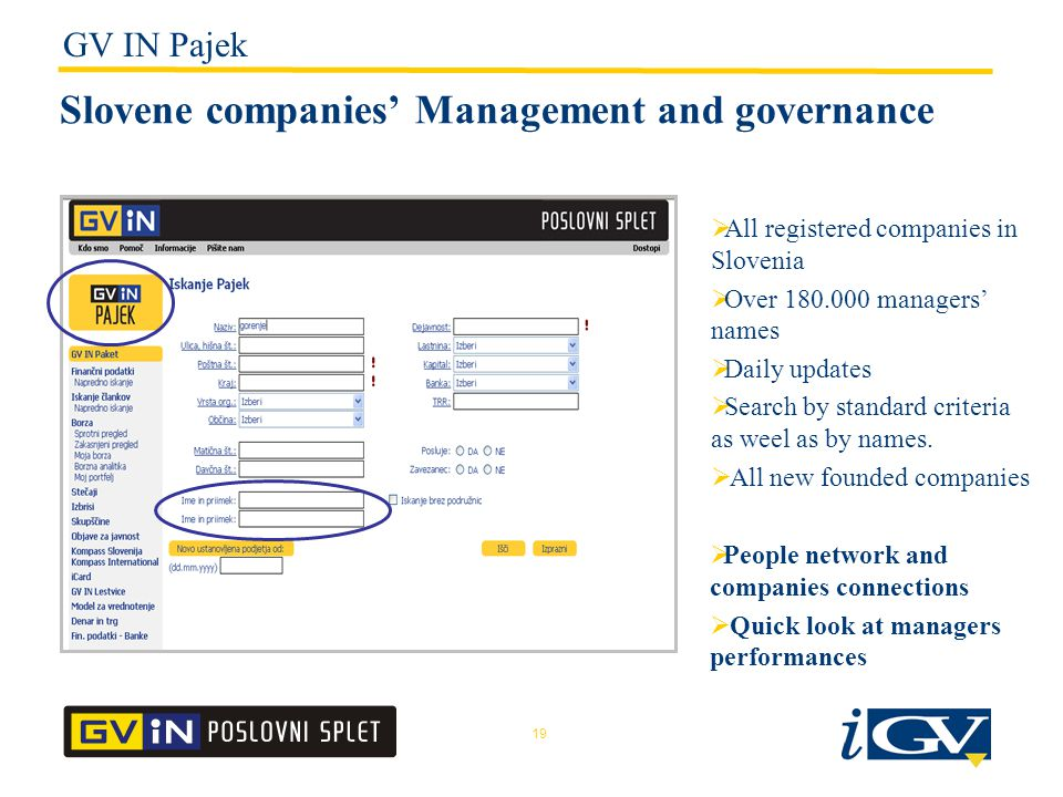 19 Slovene companies' Management and governance  All registered companies in Slovenia  Over 180.000 managers' names  Daily updates  Search by standard criteria as weel as by names.