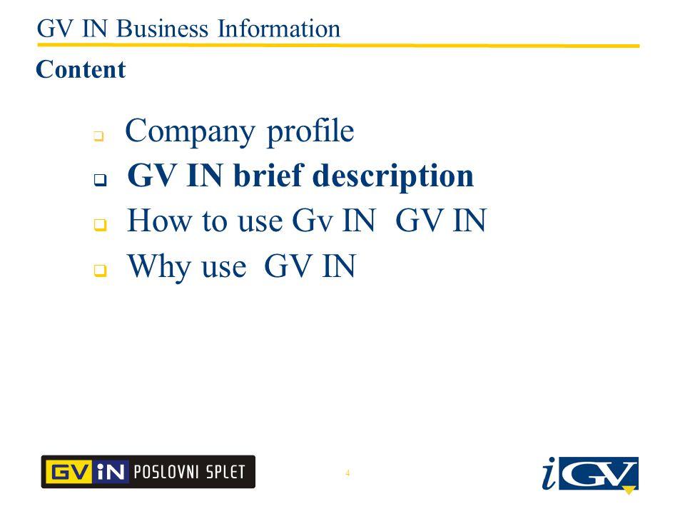 4  Company profile  GV IN brief description  How to use Gv IN GV IN  Why use GV IN Content GV IN Business Information