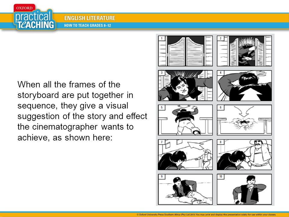 When all the frames of the storyboard are put together in sequence, they give a visual suggestion of the story and effect the cinematographer wants to achieve, as shown here: