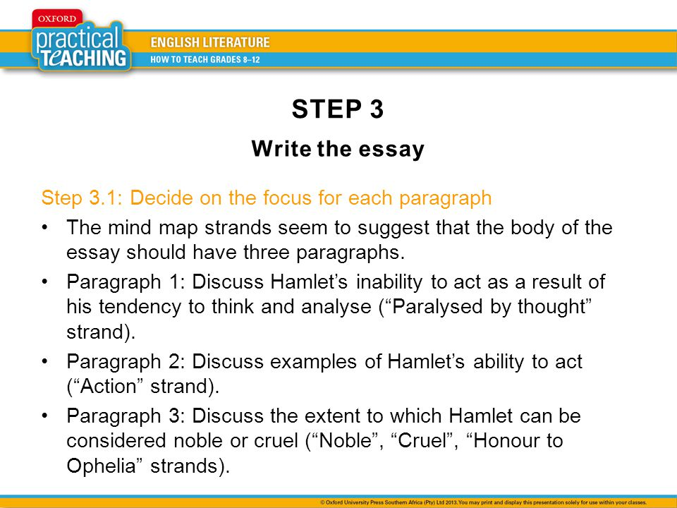 STEP 3 Write the essay Step 3.1: Decide on the focus for each paragraph The mind map strands seem to suggest that the body of the essay should have three paragraphs.