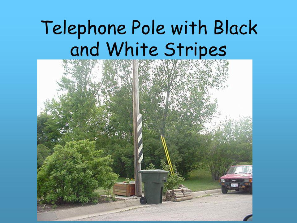 Telephone Pole with Black and White Stripes
