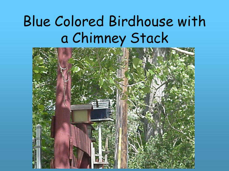 Blue Colored Birdhouse with a Chimney Stack