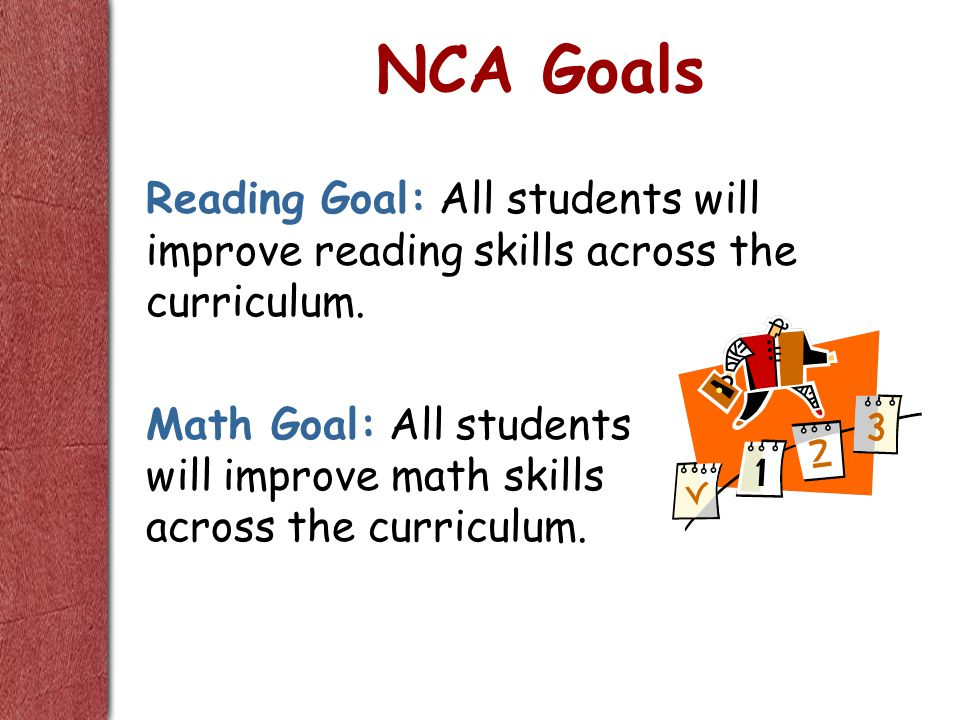 NCA Goals Reading Goal: All students will improve reading skills across the curriculum.