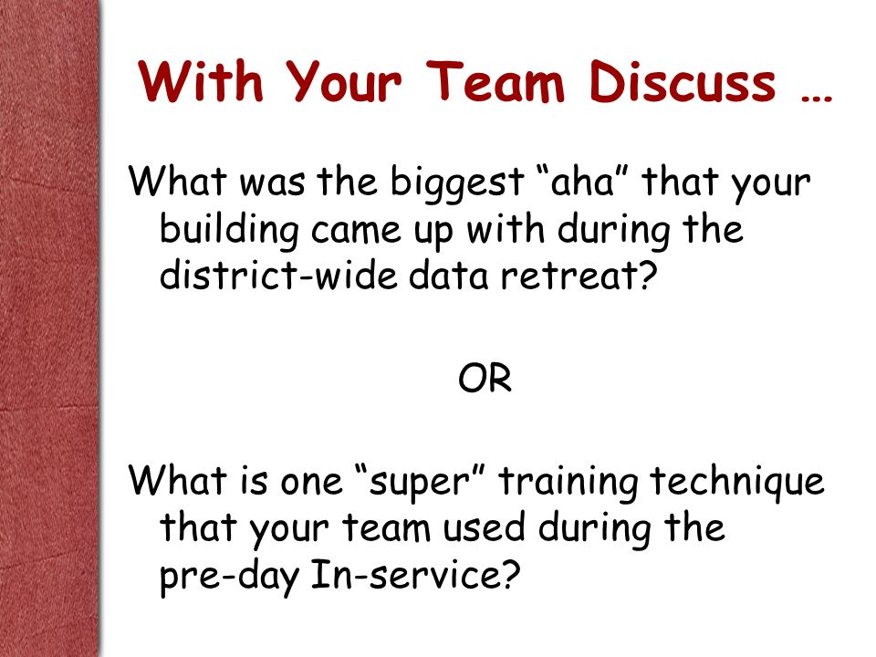 With Your Team Discuss … What was the biggest aha that your building came up with during the district-wide data retreat.