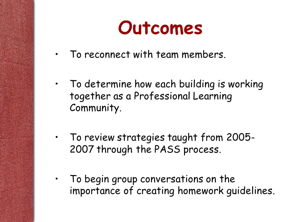 Outcomes To reconnect with team members.