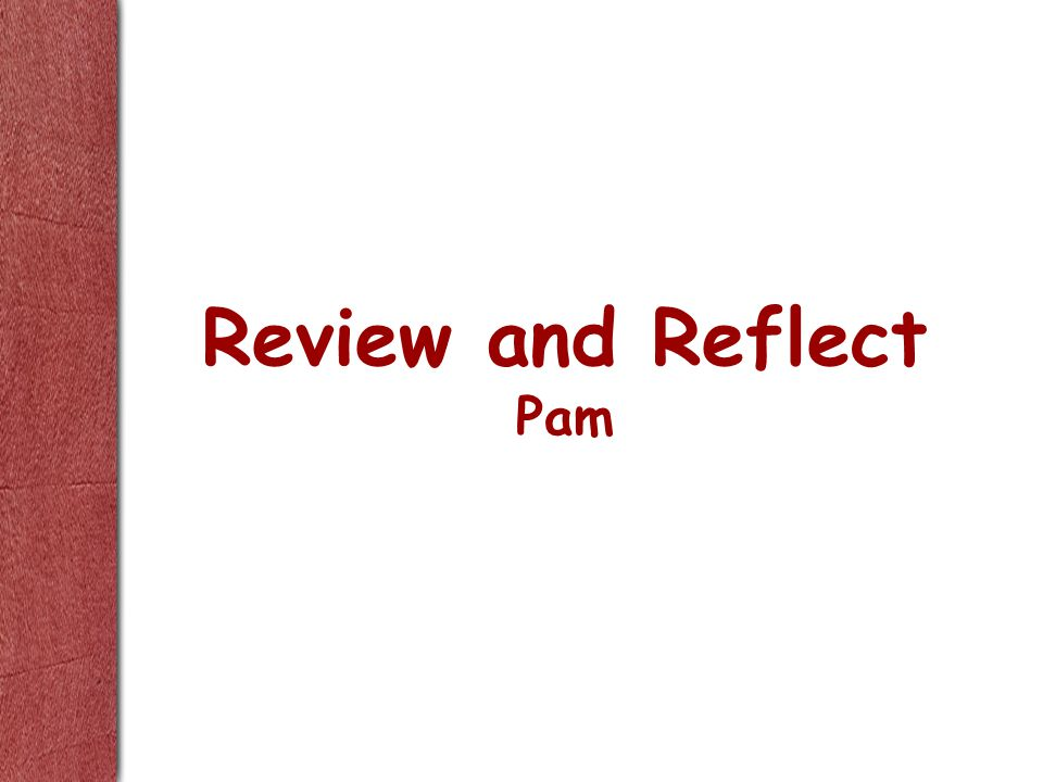 Review and Reflect Pam