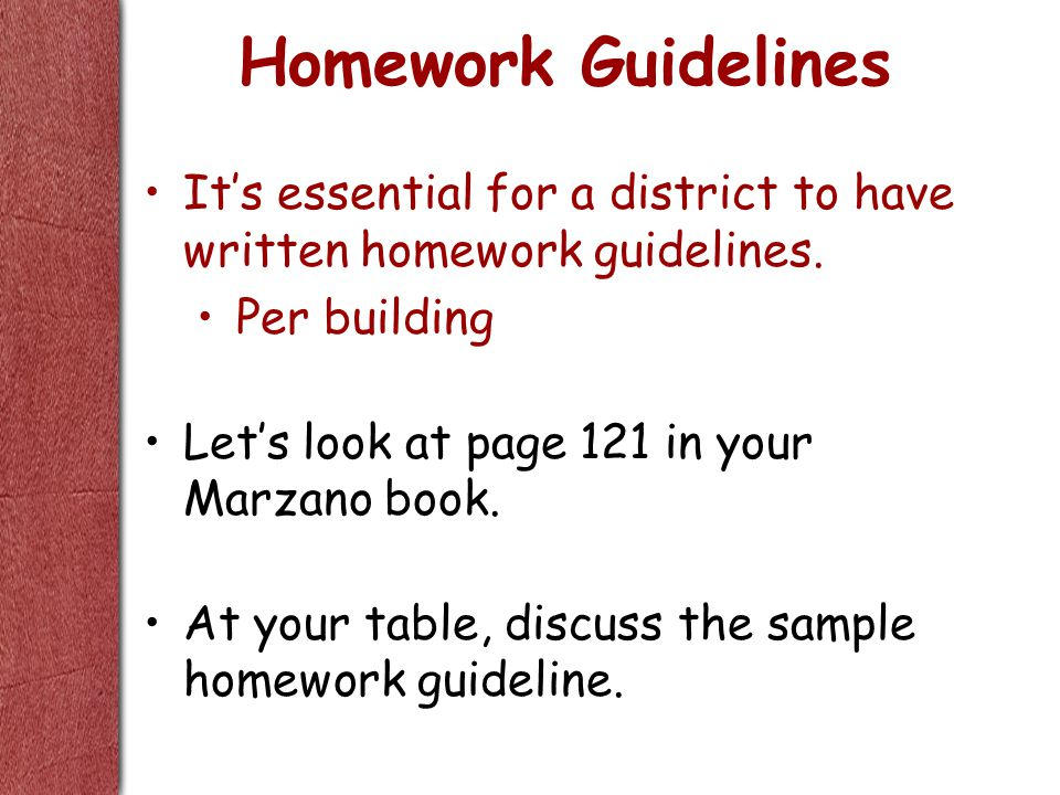 Homework Guidelines It's essential for a district to have written homework guidelines.