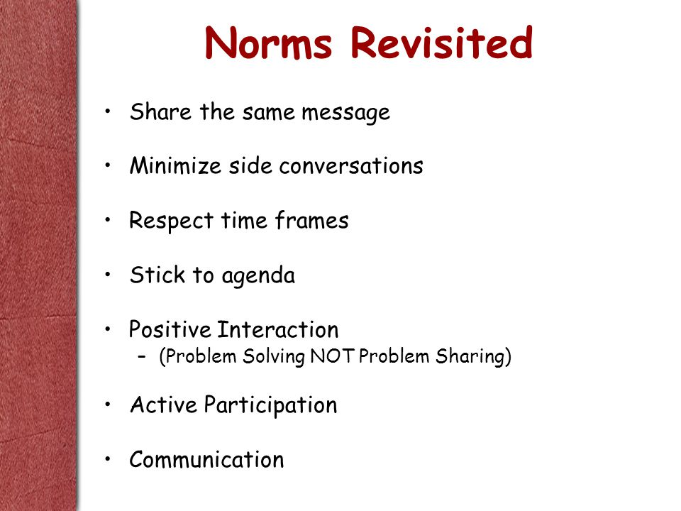 Norms Revisited Share the same message Minimize side conversations Respect time frames Stick to agenda Positive Interaction –(Problem Solving NOT Prob