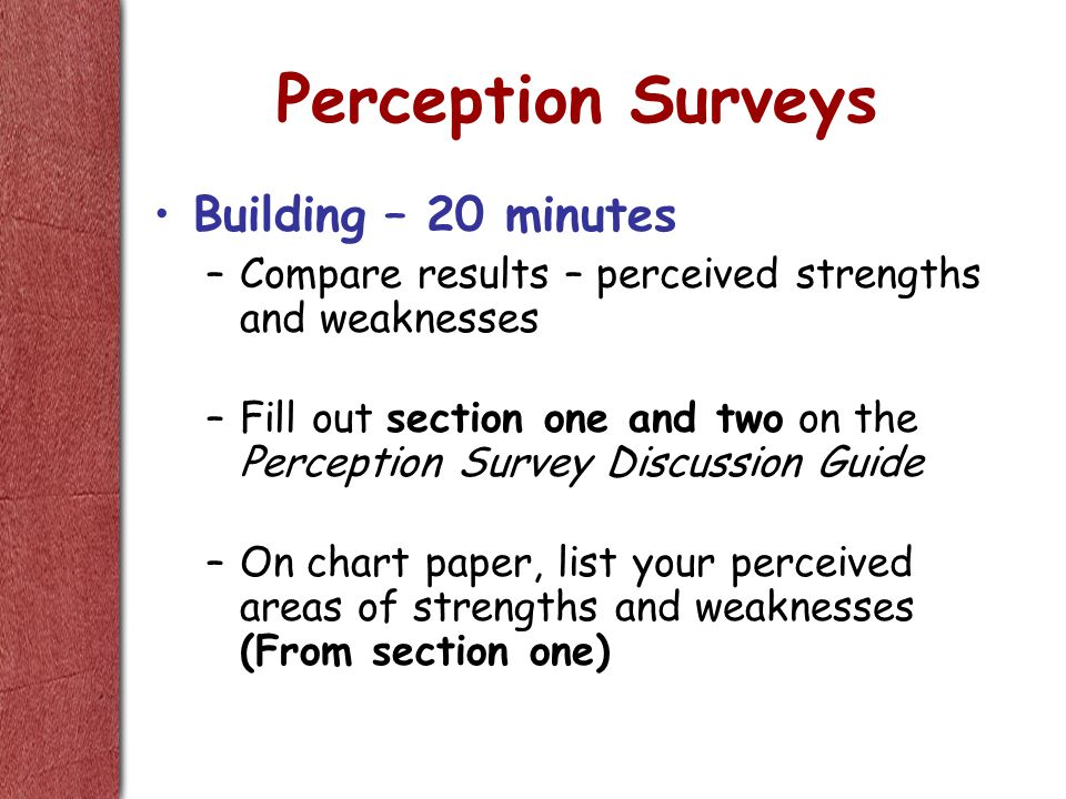 Perception Surveys Building – 20 minutes –Compare results – perceived strengths and weaknesses –Fill out section one and two on the Perception Survey Discussion Guide –On chart paper, list your perceived areas of strengths and weaknesses (From section one)
