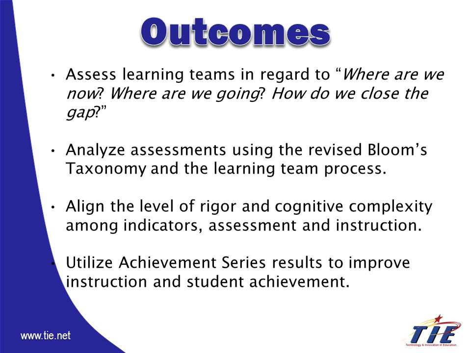 www.tie.net Assess learning teams in regard to Where are we now.