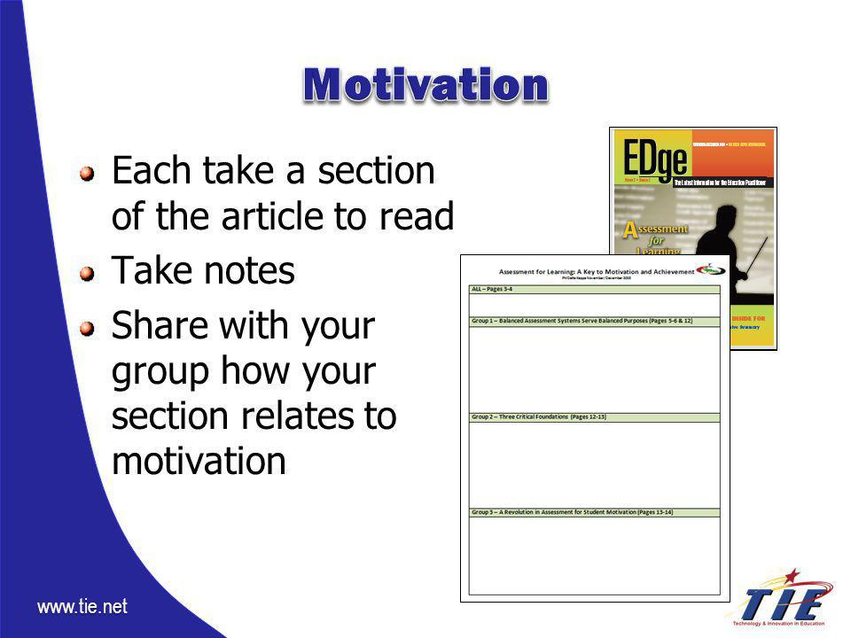 www.tie.net Each take a section of the article to read Take notes Share with your group how your section relates to motivation