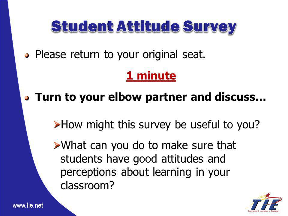 www.tie.net Please return to your original seat. 1 minute Turn to your elbow partner and discuss… How might this survey be useful to you? What can you