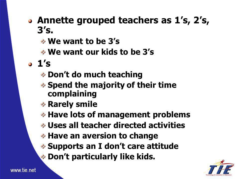 www.tie.net Annette grouped teachers as 1's, 2's, 3's. We want to be 3's We want our kids to be 3's 1's Don't do much teaching Spend the majority of t