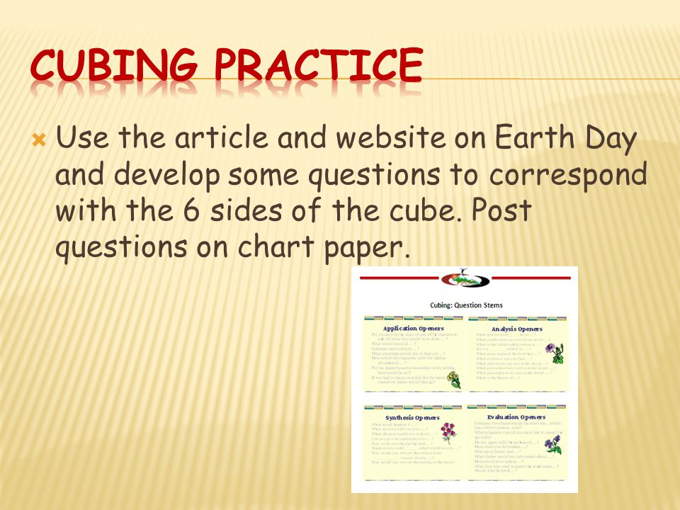  Use the article and website on Earth Day and develop some questions to correspond with the 6 sides of the cube.