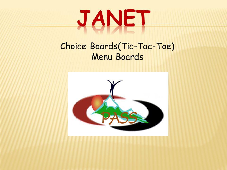 Choice Boards(Tic-Tac-Toe) Menu Boards