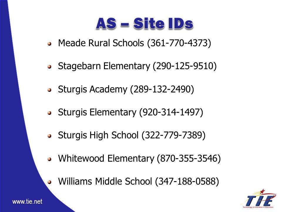 www.tie.net Meade Rural Schools (361-770-4373) Stagebarn Elementary (290-125-9510) Sturgis Academy (289-132-2490) Sturgis Elementary (920-314-1497) Sturgis High School (322-779-7389) Whitewood Elementary (870-355-3546) Williams Middle School (347-188-0588)