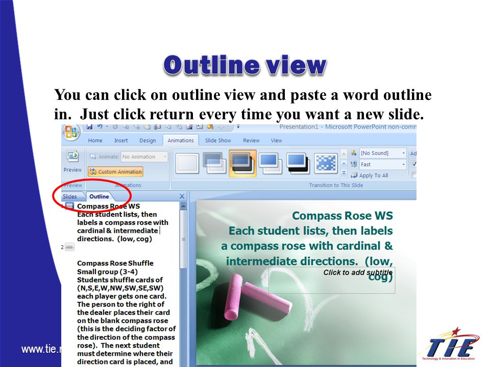 www.tie.net You can click on outline view and paste a word outline in.