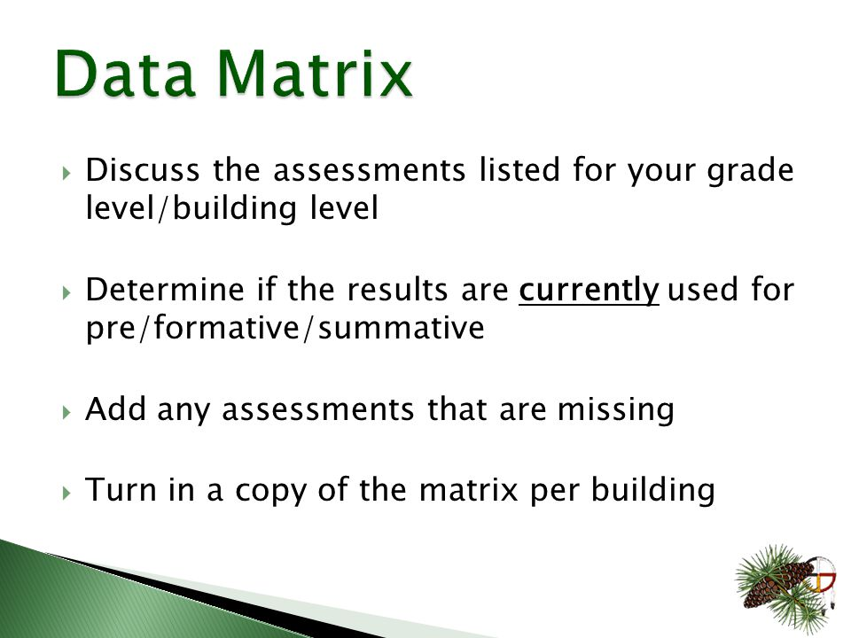  Discuss the assessments listed for your grade level/building level  Determine if the results are currently used for pre/formative/summative  Add any assessments that are missing  Turn in a copy of the matrix per building