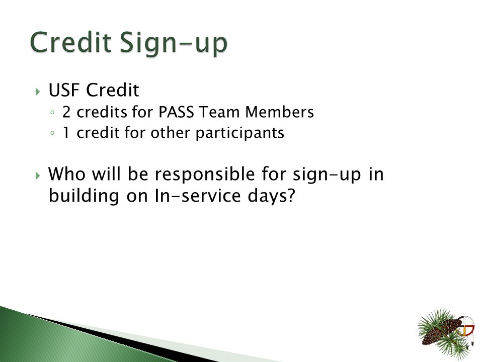  USF Credit ◦ 2 credits for PASS Team Members ◦ 1 credit for other participants  Who will be responsible for sign-up in building on In-service days