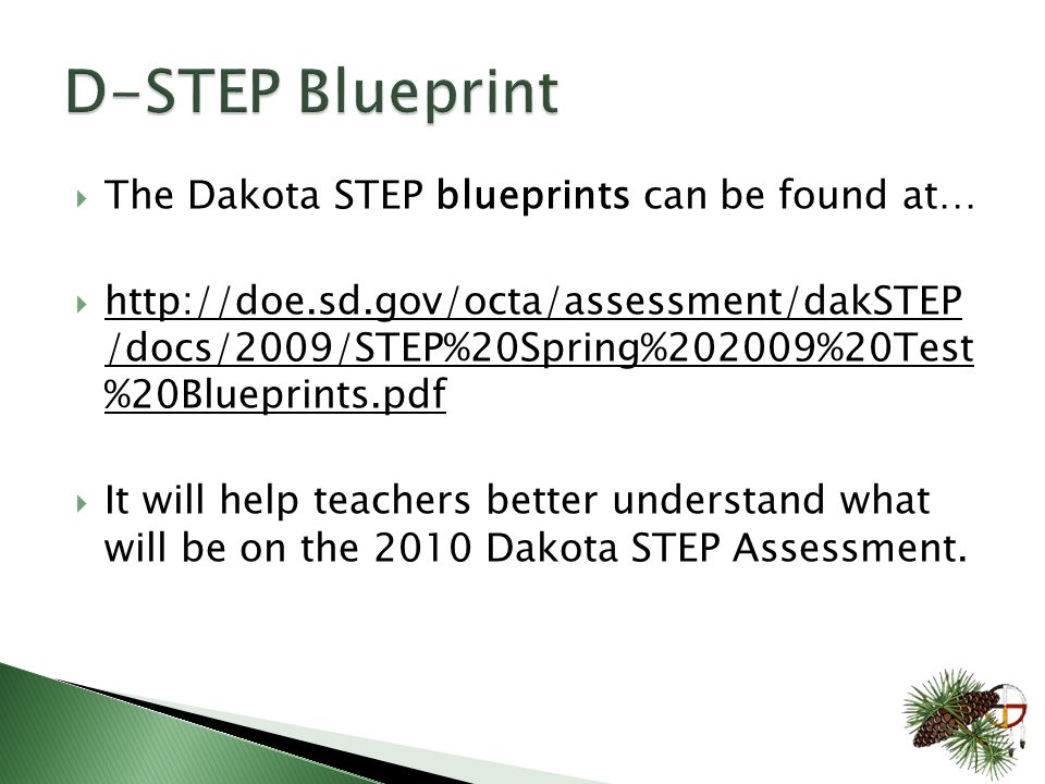  The Dakota STEP blueprints can be found at…  http://doe.sd.gov/octa/assessment/dakSTEP /docs/2009/STEP%20Spring%202009%20Test %20Blueprints.pdf  It will help teachers better understand what will be on the 2010 Dakota STEP Assessment.