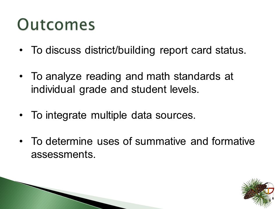 To discuss district/building report card status.