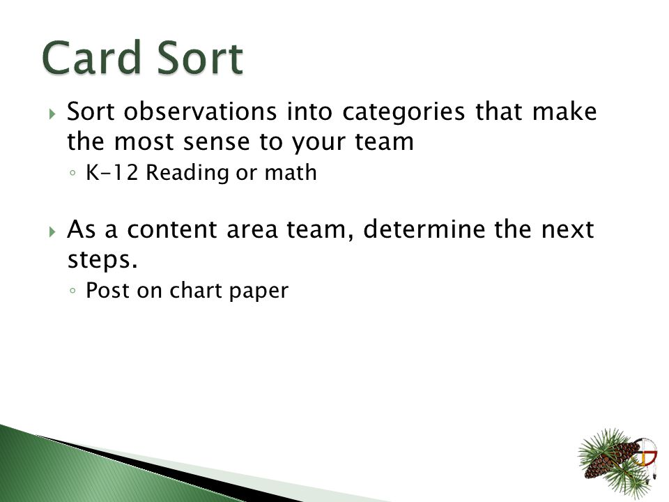  Sort observations into categories that make the most sense to your team ◦ K-12 Reading or math  As a content area team, determine the next steps.
