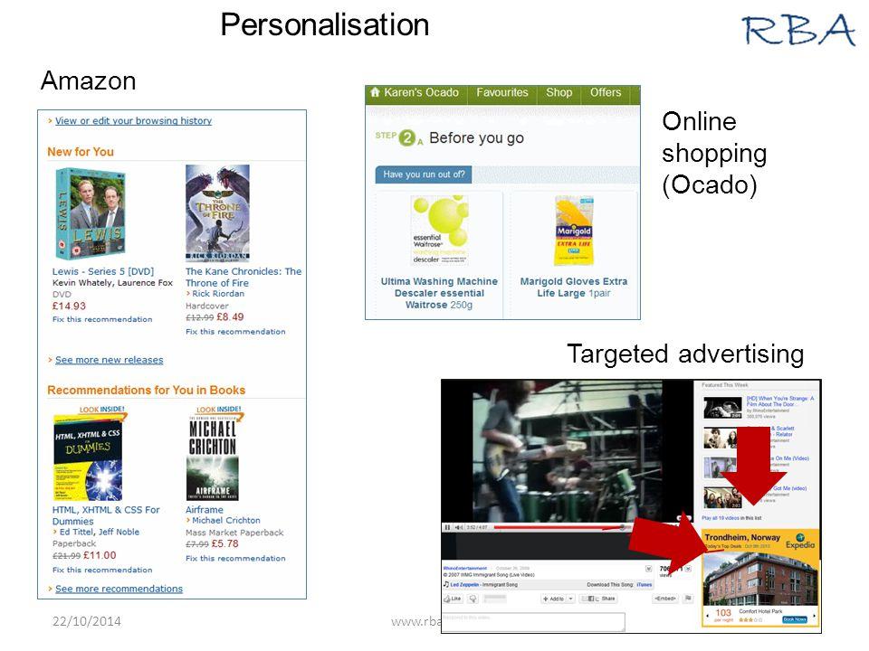 22/10/2014www.rba.co.uk14 \ \\\\\\\\\\ Amazon Online shopping (Ocado) Targeted advertising Personalisation