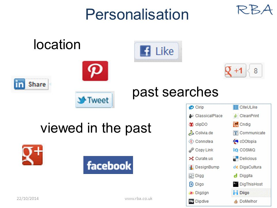 Personalisation location past searches viewed in the past 22/10/2014www.rba.co.uk16