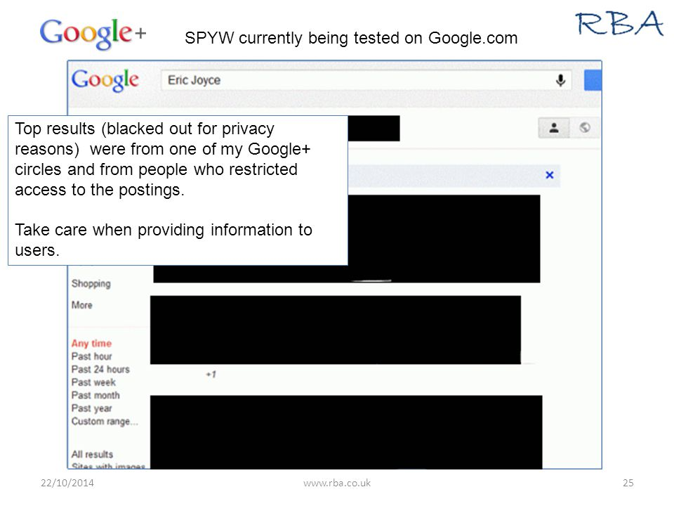 22/10/2014www.rba.co.uk25 SPYW currently being tested on Google.com Top results (blacked out for privacy reasons) were from one of my Google+ circles and from people who restricted access to the postings.