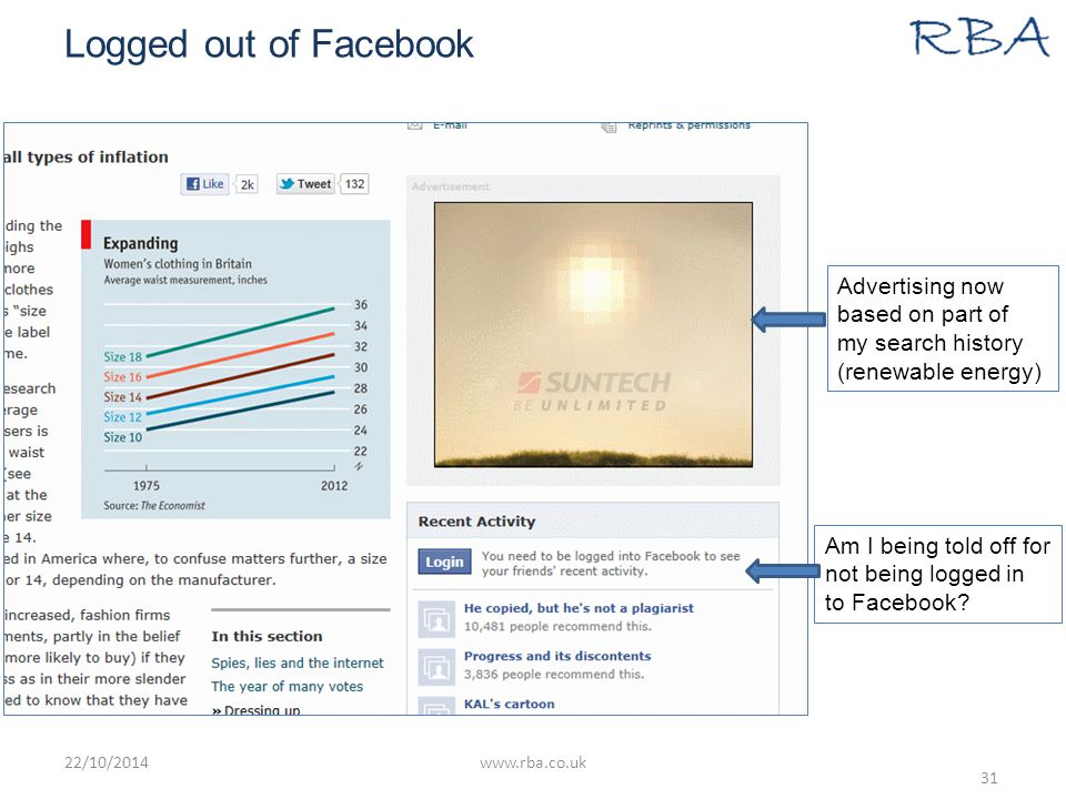 Logged out of Facebook 22/10/2014www.rba.co.uk 31 Advertising now based on part of my search history (renewable energy) Am I being told off for not being logged in to Facebook