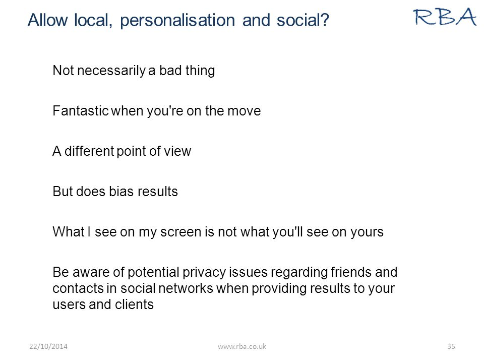 Allow local, personalisation and social.
