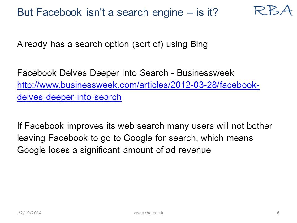 But Facebook isn t a search engine – is it.