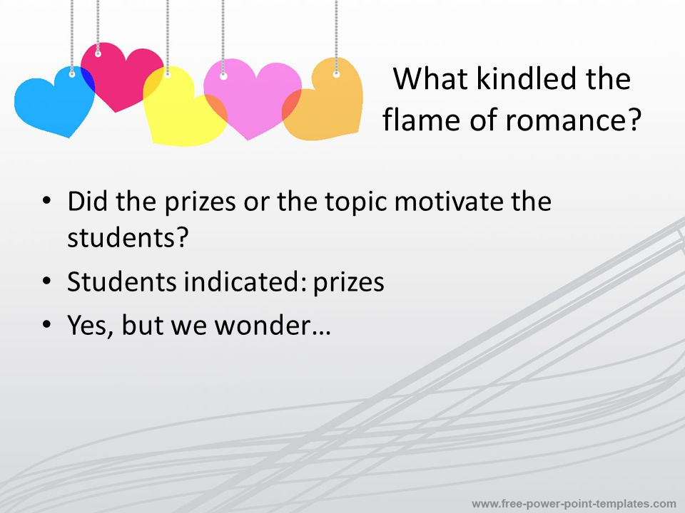 What kindled the flame of romance. Did the prizes or the topic motivate the students.