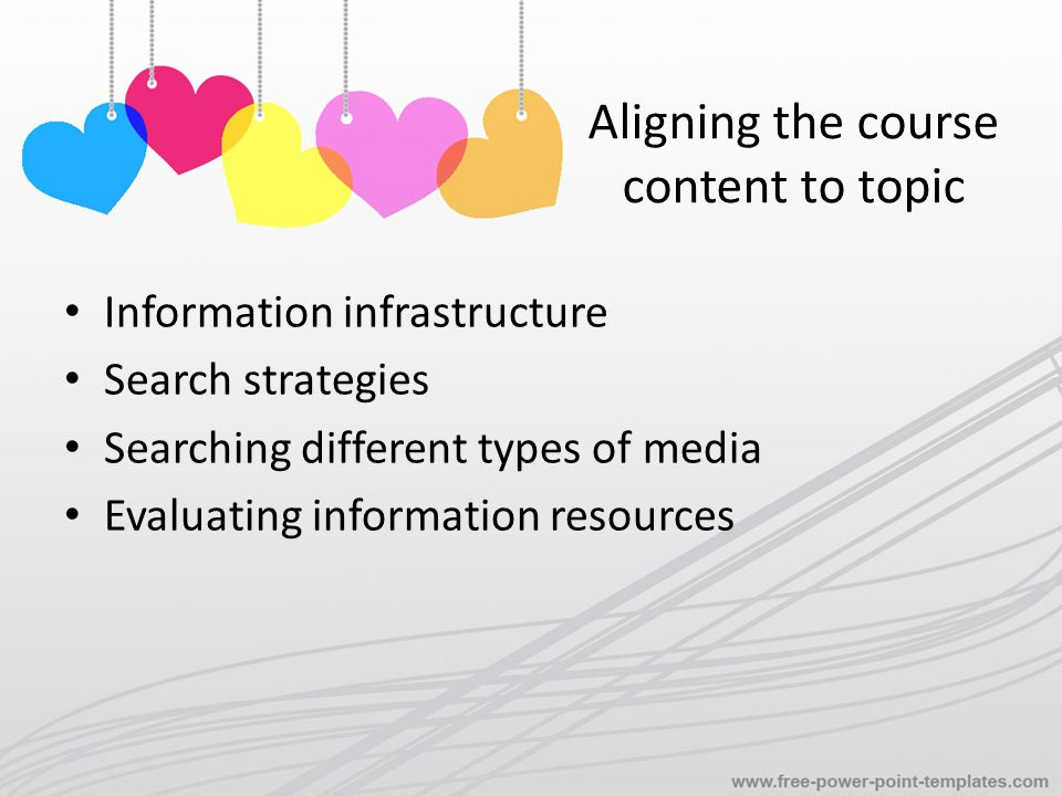 Aligning the course content to topic Information infrastructure Search strategies Searching different types of media Evaluating information resources