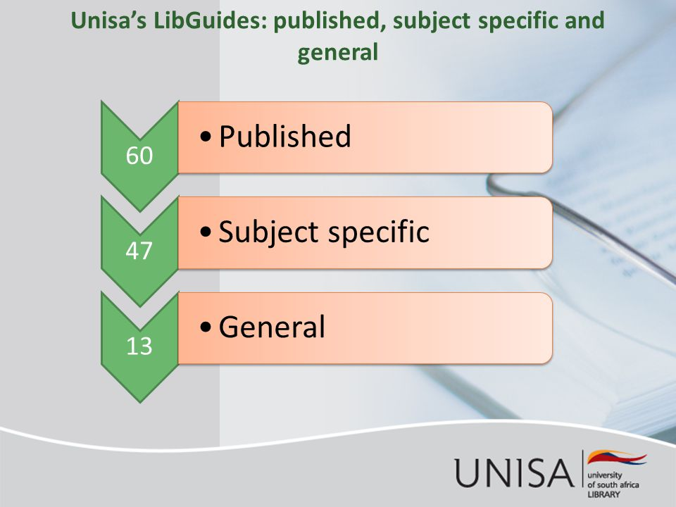 Unisa's LibGuides: published, subject specific and general 60 Published 47 Subject specific 13 General