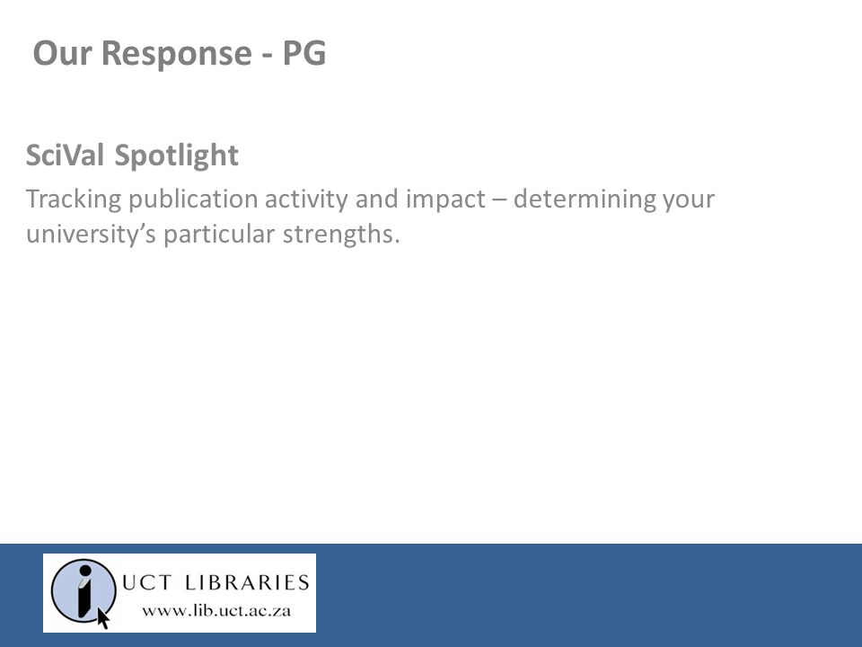 Our Response - PG SciVal Spotlight Tracking publication activity and impact – determining your university's particular strengths.