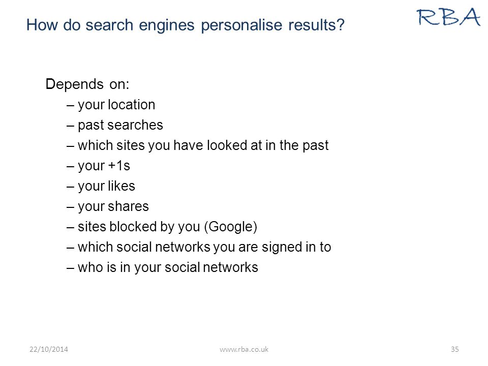 How do search engines personalise results.