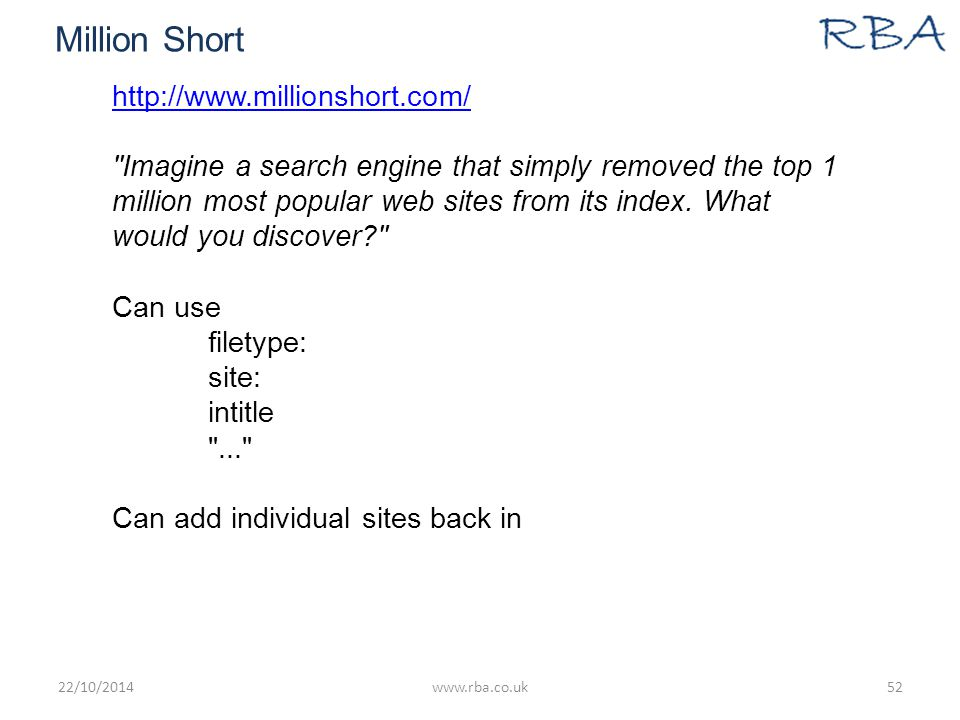 Million Short http://www.millionshort.com/ Imagine a search engine that simply removed the top 1 million most popular web sites from its index.