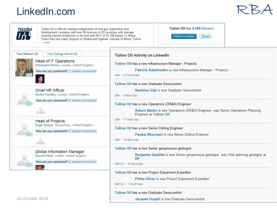 LinkedIn.com 22 October 2014Karen Blakeman www.rba.co.uk68