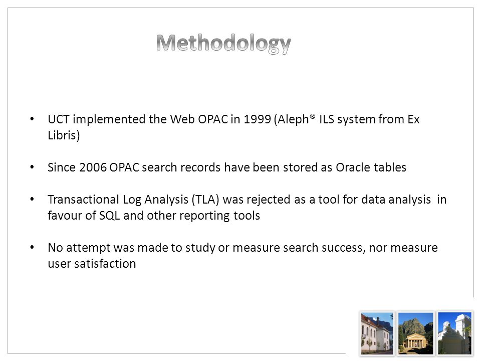 Events that are registered in the Z69 (Web OPAC events) Oracle table (Ex Libris, 2009): Search Command - Multi field (find-a) Search Command - Basic search (find-b) Search Command - CCL (find-c) Search Command - Advanced (find-d) Search Command - Multi base (find-m) Scan Refine Search Cross sets My Library Card Help SDI Profile Save Z39 Server Search request Z39 Server scan request Search = Keyword search Scan = Alphabetical Browse search