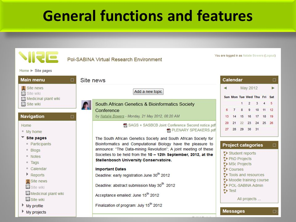 General functions and features 5