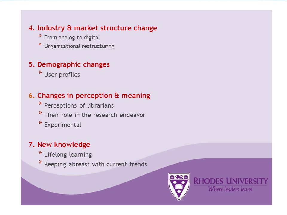 4. Industry & market structure change * From analog to digital * Organisational restructuring 5.
