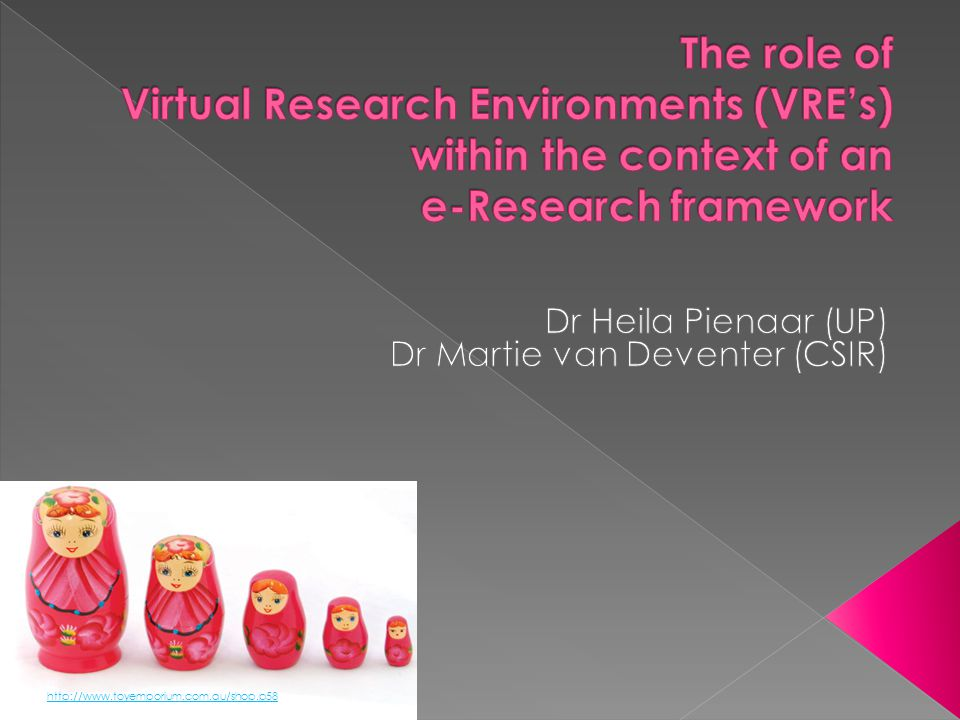 The e-Research framework for South Africa developed by Fernihough (2011), after in depth interviews with various SA research stakeholders, will be discussed in order to give a framework or context for the role of virtual research environments with regard to e- Research.